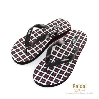 Paidal 男款英格蘭方格夾腳拖海灘拖人字拖鞋-紅