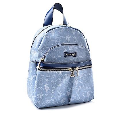 kuma heya -美國熊機能型雙口袋後背包 -藍