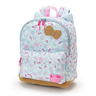 Sanrio HELLO KITTY貓耳造型滿版圖案兒童輕便後背包M(蛋糕牛奶)