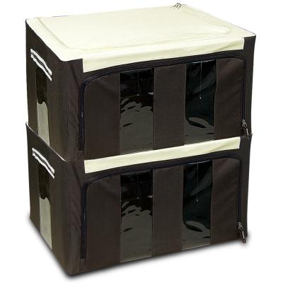 WallyFun 第三代-雙U摺疊收納箱 -棕色66L (超值2入) ~超強荷重200kg