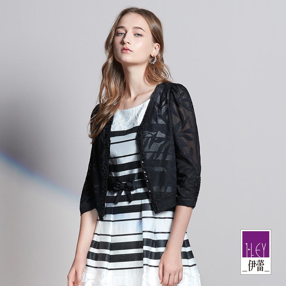 ILEY伊蕾 性感蕾絲縫珠短版罩衫(黑)