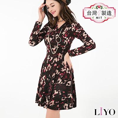 LIYO理優MIT V領印花長袖洋裝(暗紅)