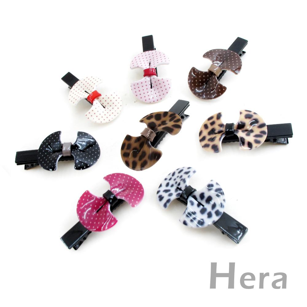 【Hera】韓式甜美 扇形蝴蝶結造型邊夾/髮夾(豹紋-咖啡色)