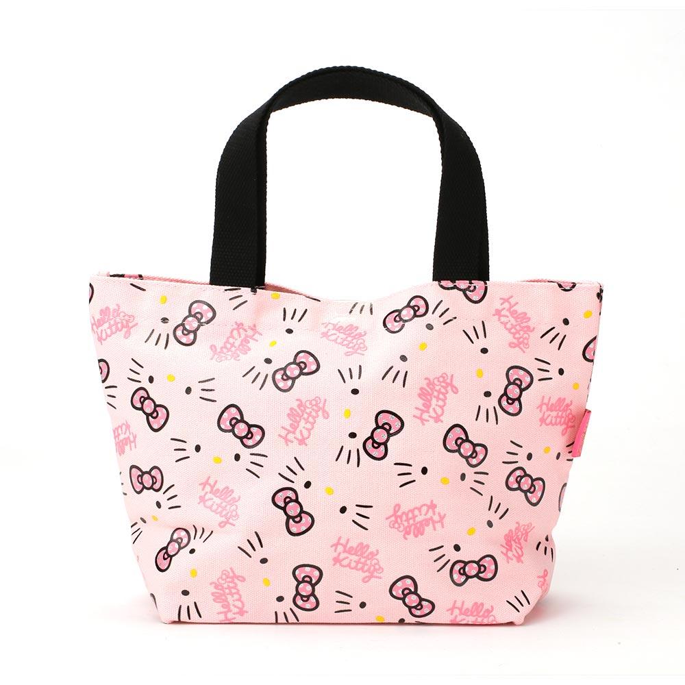Sanrio HELLO KITTY緞帶文具系列帆布迷你提袋(粉)