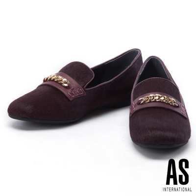 平底鞋 AS 時尚復古金屬鍊飾點綴異材質拼接平底鞋-紅