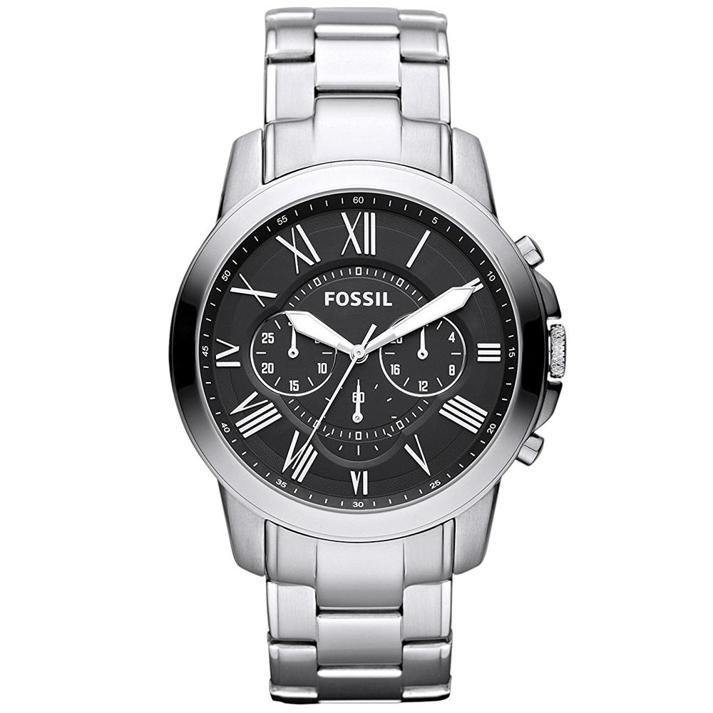 FOSSIL Grant 經典復刻計時手錶(FS4736IE)-黑X銀/44mm