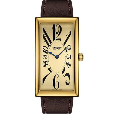 TISSOT 天梭 王子經典系列100周年紀念款-金色x咖啡色/49x27mm