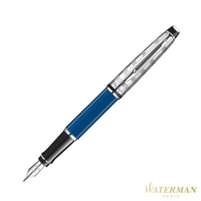 WATERMAN 權威系列 時尚銀蓋法藍桿 鋼筆
