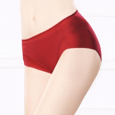 內褲 健康抑菌竹炭中腰M-XL無痕內褲 熱情紅 可蘭霓Clany