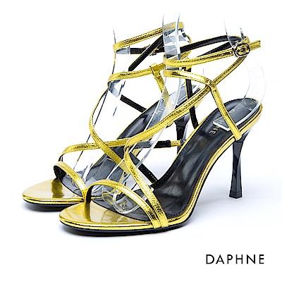 達芙妮DAPHNE 涼鞋-細帶繞踝方釦細高跟涼鞋-黃
