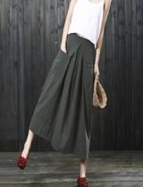 氣質雙口袋棉麻寬鬆長裙