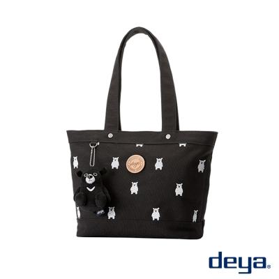 deya黑熊純棉帆布托特包後背包(小)- 黑色