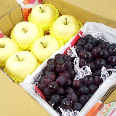 鮮果日誌 - 金蘋禮讚葡萄禮盒(日本金星蘋果6入+葡萄2.5台斤)