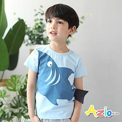 Azio Kids 童裝-上衣 立體鯊魚尾巴短袖T恤(藍)
