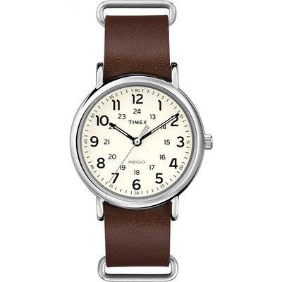 TIMEX-天美時經典復刻冷光Weekender系列-米色面/咖啡帶-40mm