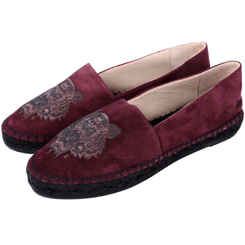 KENZO Tiger 老虎印花麂絨布草編便鞋(紫紅色/展示品)