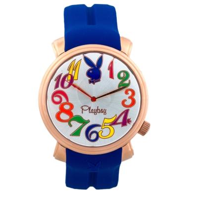 PLAYBOY 60週年紀念錶款 玫瑰金框+藍色帶/44mm