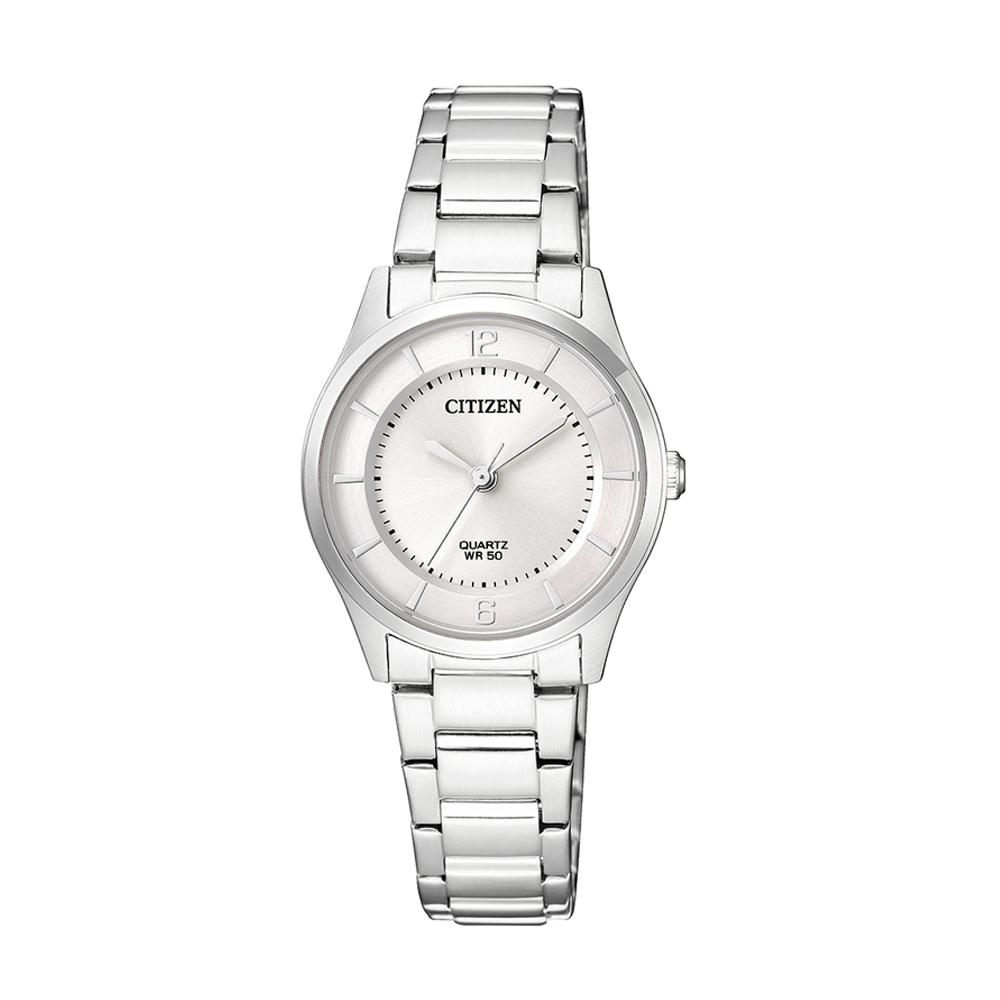 CITIZEN星辰 銀刻度日期優雅女仕手錶(ER0201-81A)-白/26mm