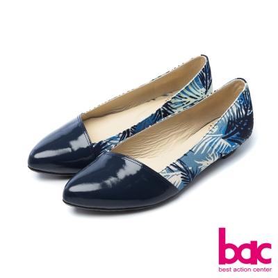 bac甜美履行夏日印花異材質拼接尖頭低跟鞋藍
