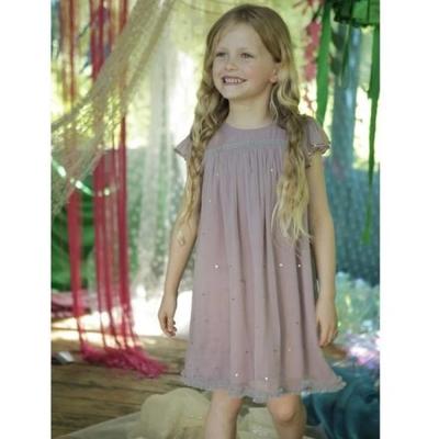 I Love Gorgeous 美人魚荷葉袖亮片雪紡無袖小洋裝-紫紅色