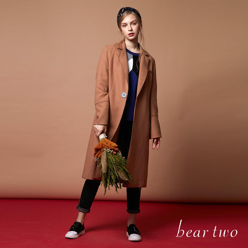 beartwo 保暖毛料長版修飾單扣大衣(共2色)-動態show