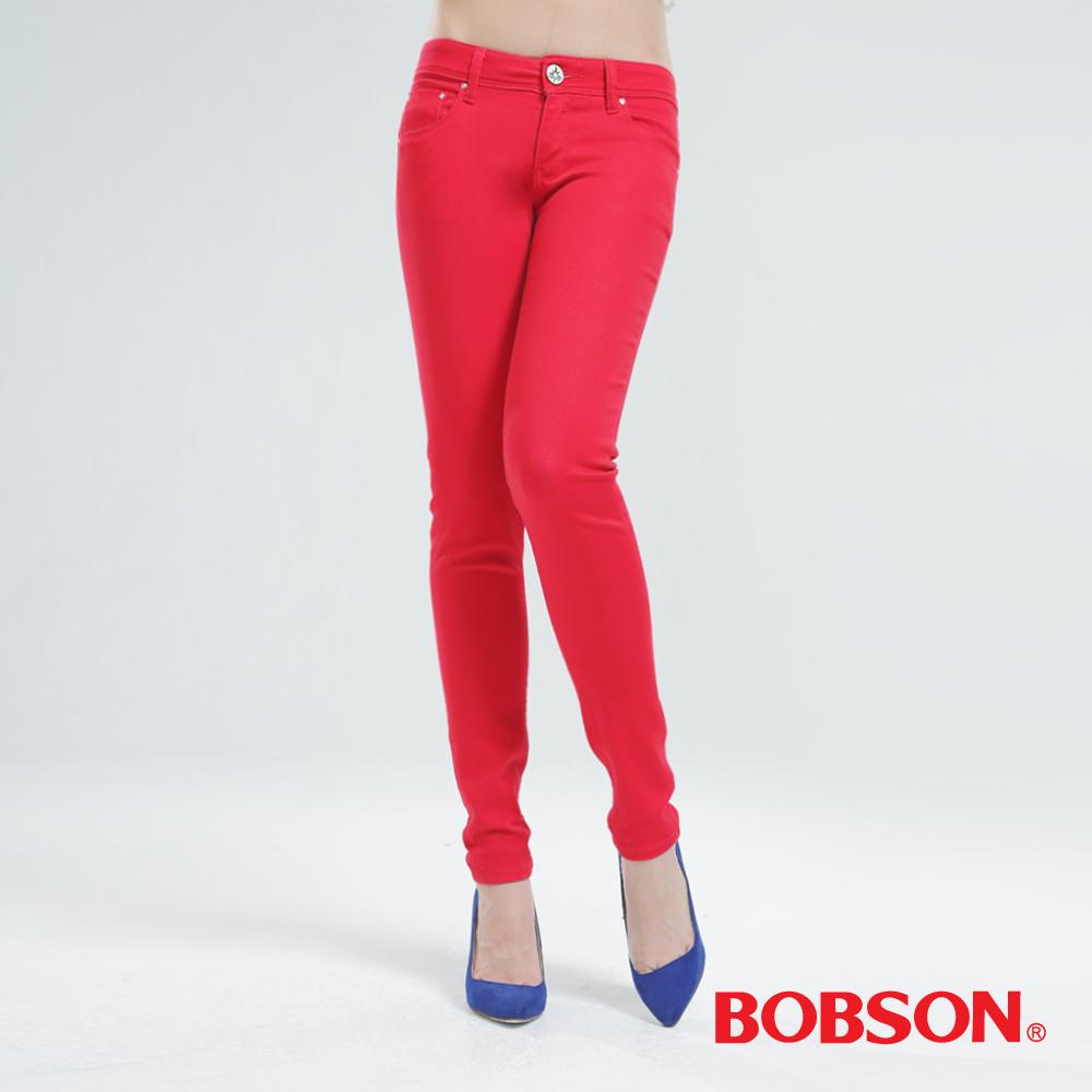 BOBSON 彩色強彈力緊身褲(紅色)