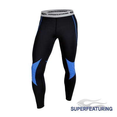 SUPERFEATURING 專業跑步三鐵 Hicolor壓縮緊身褲 亮藍