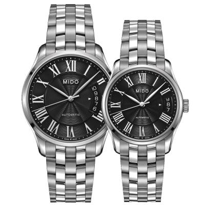 MIDO Belluna II雋永系列80小時皇家經典機械對錶-40+33mm-黑