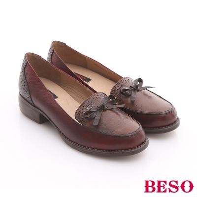 BESO-英倫學院-牛皮雕花細帶蝴蝶結飾樂福鞋-暗