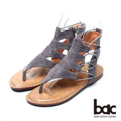 bac流行品味 搶眼設計羅馬涼鞋-灰