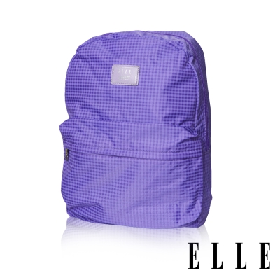 ELLE 輕旅休閒可掛式摺疊收納尼龍後背包-格紋紫