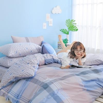 GOODDAY-交叉-纖絨棉-防蹣薄被套床包組(雙人)
