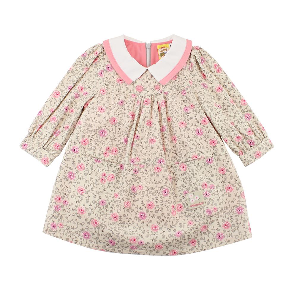 愛的世界 MYBABY 典雅玫瑰保暖長袖洋裝/1~3歲