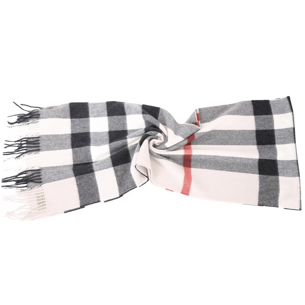 BURBERRY 100%喀什米爾石灰色大格紋羊毛圍巾(200x36CM)