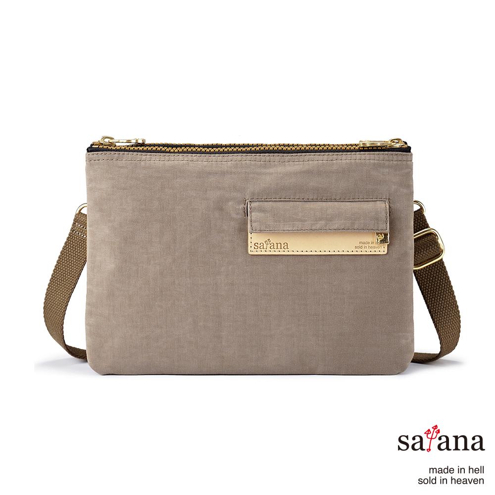satana - 愜意生活雙拉鍊斜背包 - 松樹皮