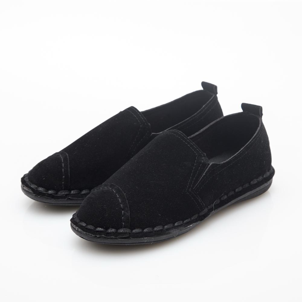 JMS-文藝質感滾邊細絨平底休閒鞋-黑色