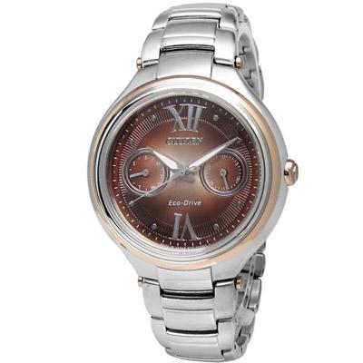 CITIZEN 光動能藍寶石玻璃手錶(FD4007-51W)-咖啡x玫瑰金框/35mm