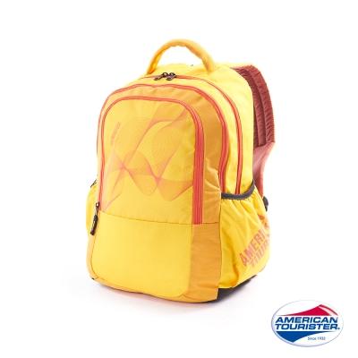 AT美國旅行者-炫彩雙層休閒後背包-黃