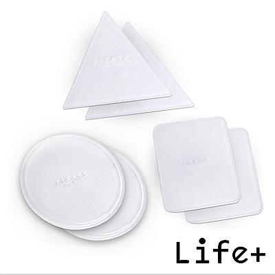 Life Plus 無痕隨行矽膠貼墊/萬用貼/隨手貼 (透明-三角+圓形+方形)X2