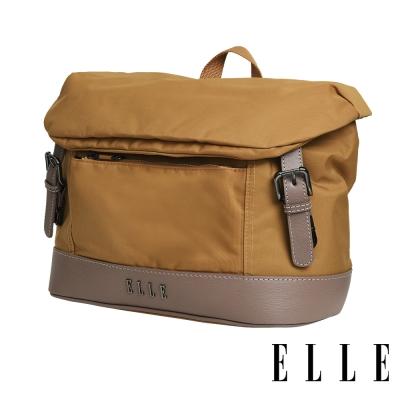 ELLE 時光旅人系列-大容量10吋IPAD橫式休閒手提/斜背包-日光駝