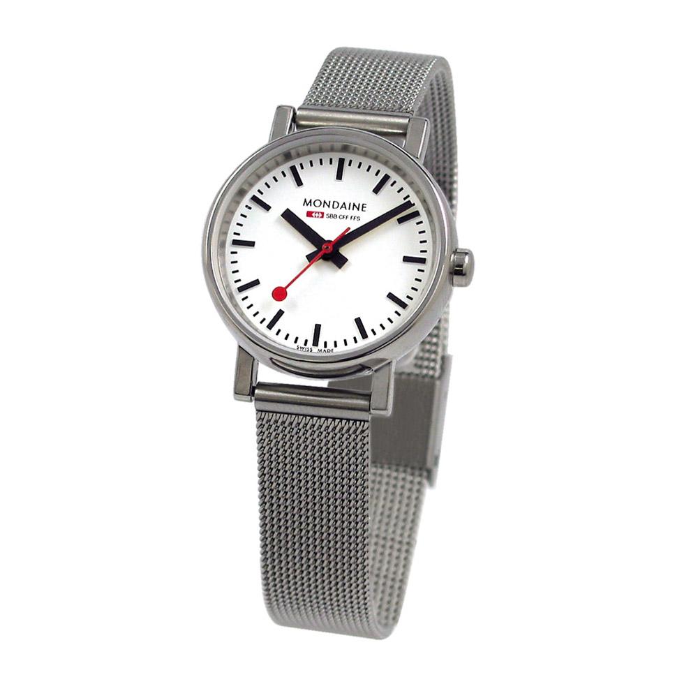 Mondaine 瑞士國鐵 經典鋼鍊女錶-白/26mm