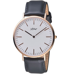 STAR時代簡約時尚超薄腕錶(7T1712-431RG-WD )-41mm