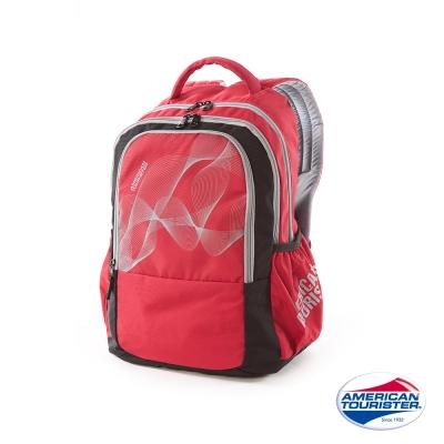 AT美國旅行者-炫彩雙層休閒後背包-紅
