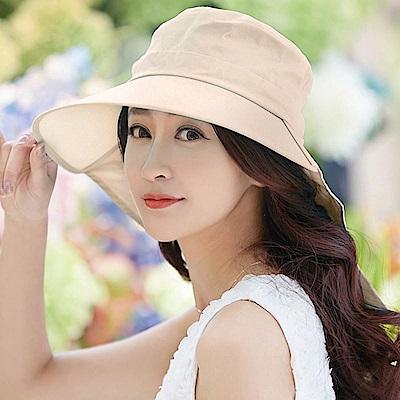 【幸福揚邑】清爽優雅抗UV護頸大帽檐可捲收露馬尾遮陽帽-卡其