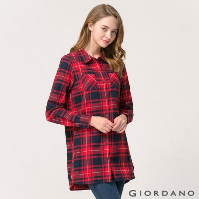 GIORDANO 女裝法蘭絨純棉長版格子休閒襯衫- 17 紅/黑格子