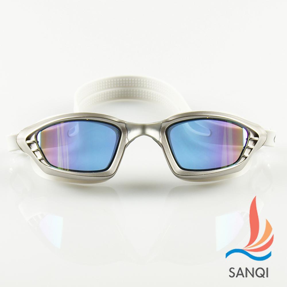 SANQI三奇 夏日必備抗UV防霧休閒泳鏡(9017-灰F)
