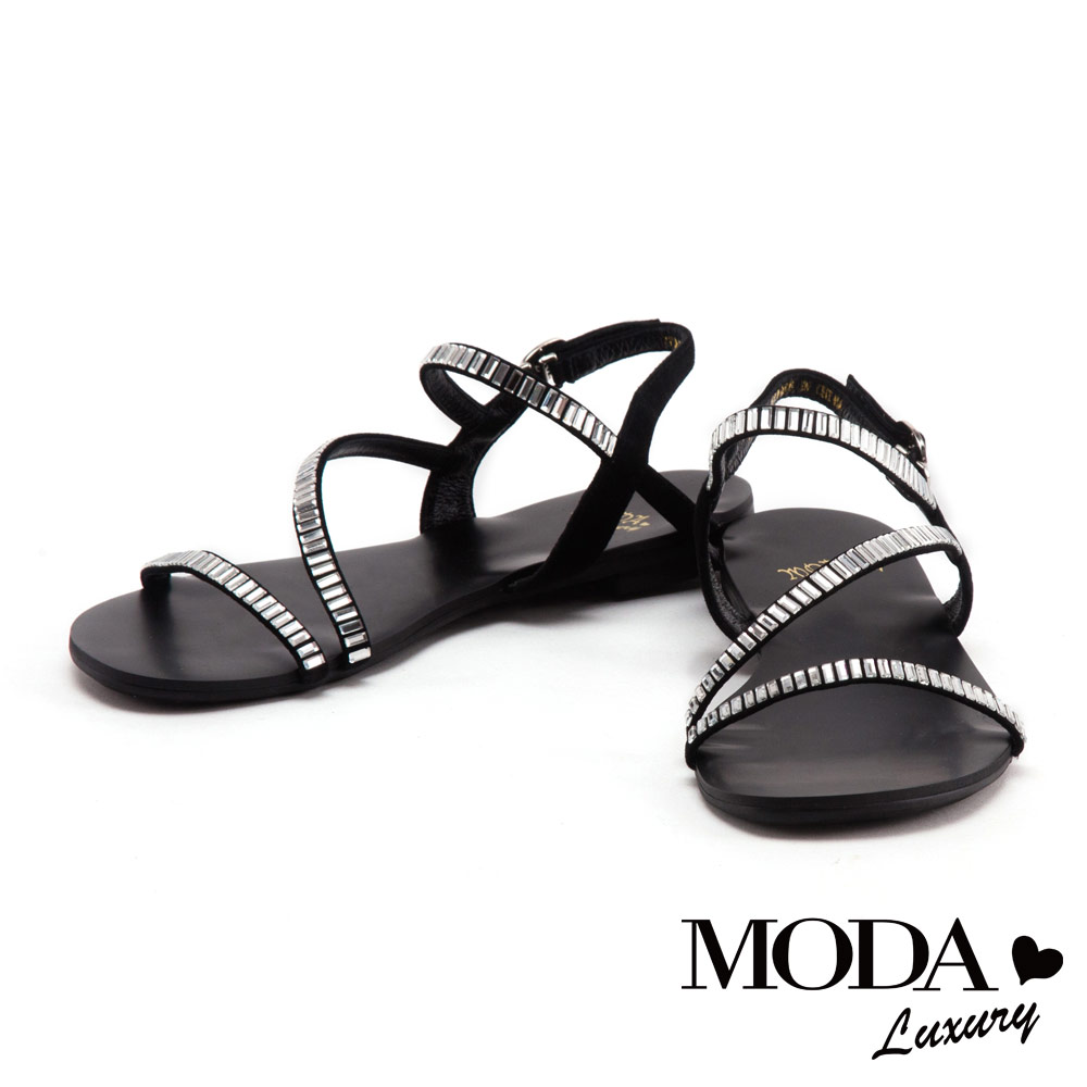 涼鞋 MODA Luxury 熱帶度假風長型鑽排列設計牛皮平底涼鞋-黑