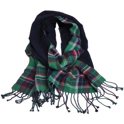 RALPH LAUREN POLO小馬刺繡LOGO 綠格紋義大利製棉質圍巾(綠格/深藍)