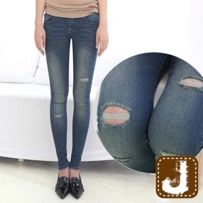 正韓 磨破抽鬚緊身修飾長褲-(藍色)100%Korea Jeans
