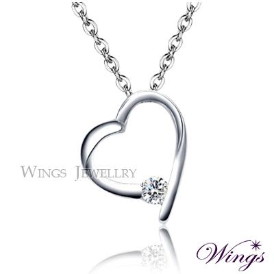 Wings 項鍊 偏愛你 閃耀八心八箭方晶鋯石精鍍白K金項鍊